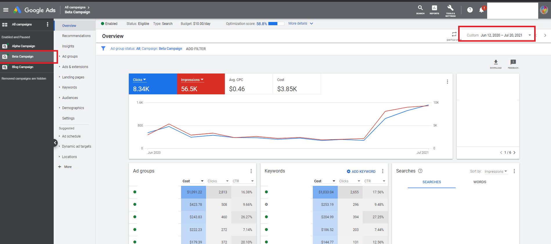 Beta campaign google ads